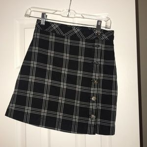 Plaid high waist skirt